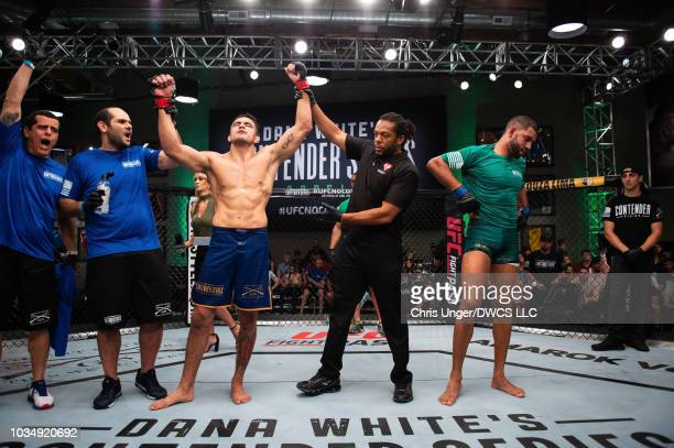 Andre Muniz of Brazil celebrates his win over Bruno Assis of Brazil in their middleweight bout during Dana White's Contender Series Brazil at the TUF...