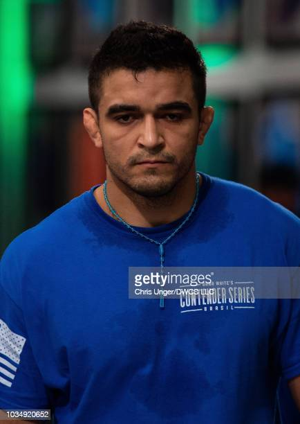 Andre Muniz of Brazil walks to the octagon before his middleweight bout with Bruno Assis of Brazil during Dana White's Contender Series Brazil at the...