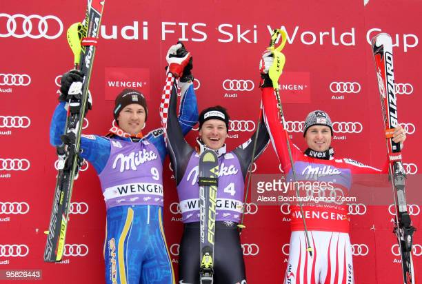 Andre Myhrer of Sweden 2nd Ivica Kostelic of Croatia 1st Reinfried Herbst of Austria 3rd pose on the podium during the Audi FIS Alpine Ski World Cup...