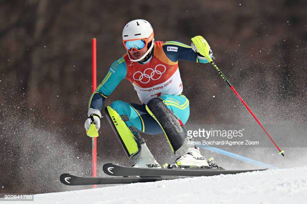 Andre Myhrer of Sweden competes during the Alpine Skiing Men's Slalom at Yongpyong Alpine Centre on February 22 2018 in Pyeongchanggun South Korea