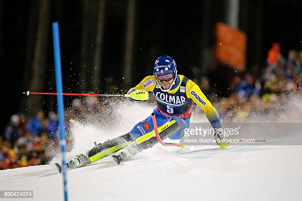 Andre Myhrer of Sweden competes during the Audi FIS Alpine Ski World Cup Men's Slalom on December 22 2016 in Madonna di Campiglio Italy