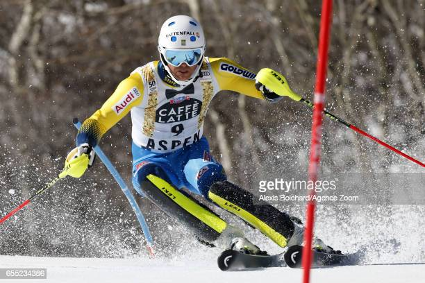 Andre Myhrer of Sweden competes during the Audi FIS Alpine Ski World Cup Finals Women's Giant Slalom and Men's Slalom on March 19 2017 in Aspen...