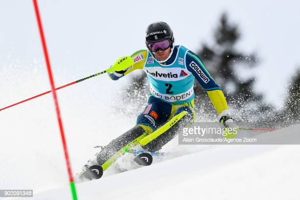 Andre Myhrer of Sweden competes during the Audi FIS Alpine Ski World Cup Men's Slalom on January 7 2018 in Adelboden Switzerland