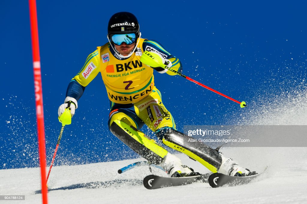 Andre Myhrer of Sweden competes during the Audi FIS Alpine Ski World Cup Men's Slalom on January 14, 2018 in Wengen, Switzerland.
