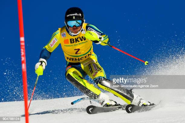 Andre Myhrer of Sweden competes during the Audi FIS Alpine Ski World Cup Men's Slalom on January 14 2018 in Wengen Switzerland