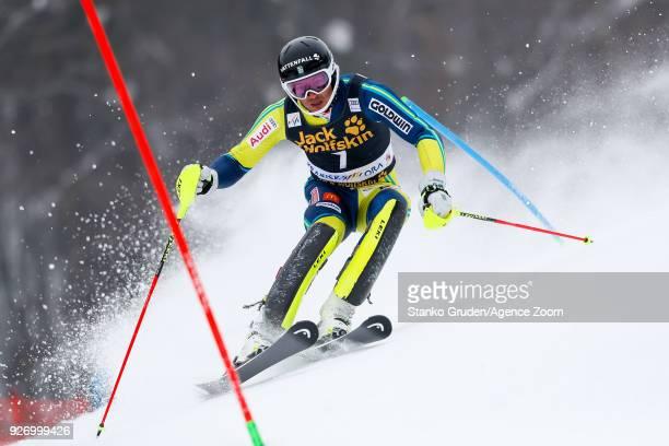 Andre Myhrer of Sweden competes during the Audi FIS Alpine Ski World Cup Men's Slalom on March 4 2018 in Kranjska Gora Slovenia