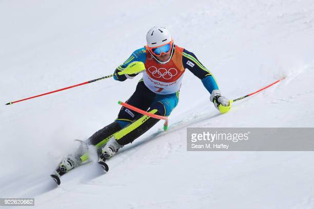 Andre Myhrer of Sweden competes during the Men's Slalom on day 13 of the PyeongChang 2018 Winter Olympic Games at Yongpyong Alpine Centre on February...
