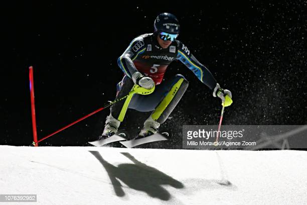 Andre Myhrer of Sweden in action during the Audi FIS Alpine Ski World Cup Men's and Women's City Event on January 1 2019 in Oslo Norway