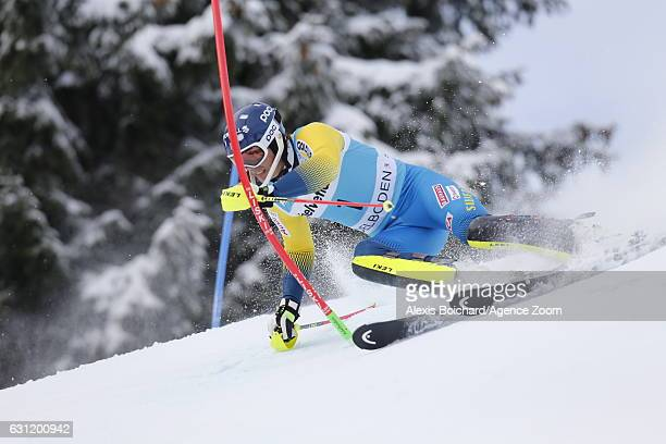 Andre Myhrer of Sweden in action during the Audi FIS Alpine Ski World Cup Men's Slalom on January 08 2017 in Adelboden Switzerland