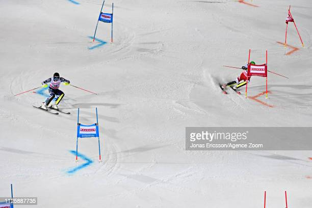 Andre Myhrer of Sweden in action, Michael Matt of Austria in action during the Audi FIS Alpine Ski World Cup Men's and Women's City Event on February...