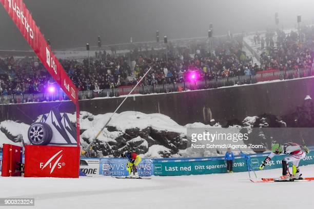 Andre Myhrer of Sweden Michael Matt of Austria compete during the Audi FIS Alpine Ski World Cup Men's and Women's City Event on January 1 2018 in...