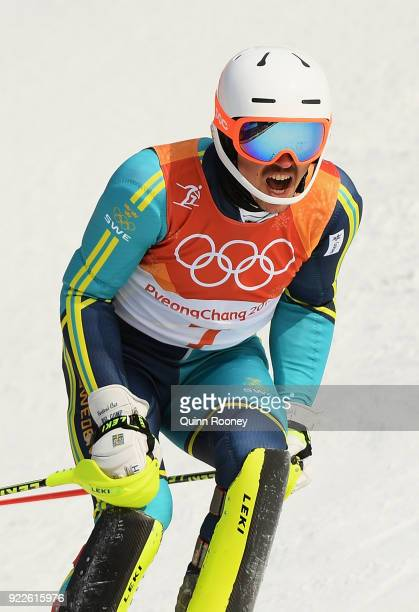 Andre Myhrer of Sweden reacts at the finish during the Men's Slalom on day 13 of the PyeongChang 2018 Winter Olympic Games at Yongpyong Alpine Centre...