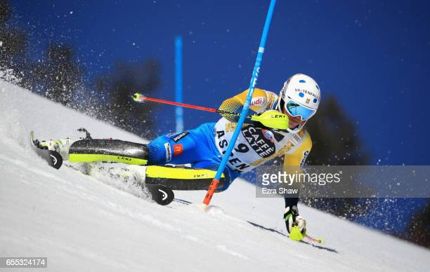 Andre Myhrer of Sweden skis his first run in the men's slalom during the 2017 Audi FIS Ski World Cup Finals at Aspen Mountain on March 19 2017 in...