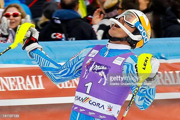 Andre Myhrer of Sweden takes 1st place during the Audi FIS Alpine Ski World Cup Men's Slalom on March 11 2012 in Kranjska Gora Slovenia