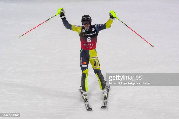 Andre Myhrer of Sweden takes 1st place during the Audi FIS Alpine Ski World Cup Men's and Women's City Event on January 1 2018 in Oslo Norway