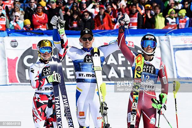 Andre Myhrer of Sweden takes 1st place Marcel Hirscher of Austria takes 2nd place Sebastian Foss Solevaag of Norway takes 3rd place during the Audi...