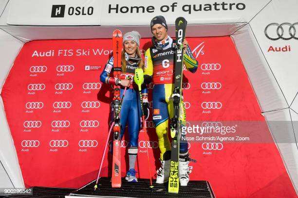Andre Myhrer of Sweden takes 1st place Mikaela Shiffrin of USA takes 1st place during the Audi FIS Alpine Ski World Cup Men's and Women's City Event...
