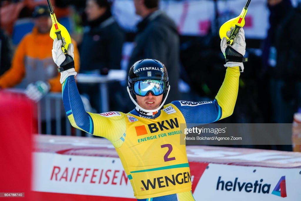 Andre Myhrer of Sweden takes 3rd place during the Audi FIS Alpine Ski World Cup Men's Slalom on January 14, 2018 in Wengen, Switzerland.