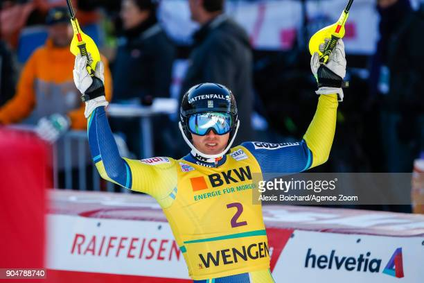 Andre Myhrer of Sweden takes 3rd place during the Audi FIS Alpine Ski World Cup Men's Slalom on January 14 2018 in Wengen Switzerland
