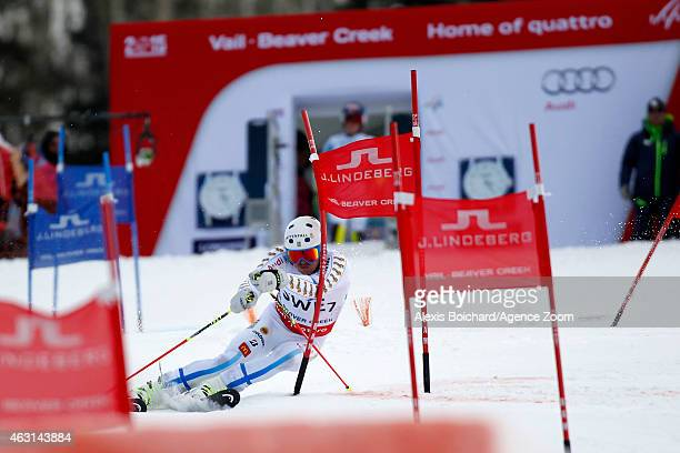 Andre Myhrer of Team Sweden wins a bronze medal during the FIS Alpine World Ski Championships Nations Team Event on February 10 2015 in Vail/Beaver...