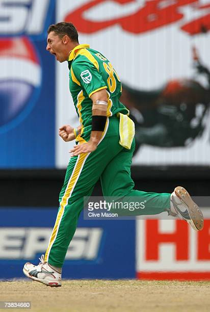 Andre Nel of South Africa celebrates the wicket of Javed Omar of Bangladesh during the ICC Cricket World Cup Super Eights match between Bangladesh...