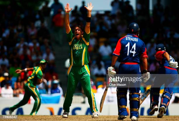 Andre Nel of South Africa celebrates the wicket of Michael Vaughan of England during the ICC Cricket World Cup Super Eights match between South...
