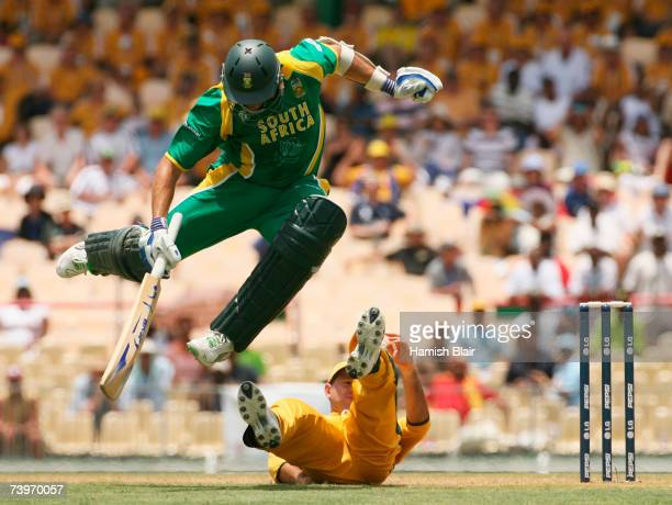Andre Nel of South Africa jumps to avoid Ricky Ponting of Australia during the ICC Cricket World Cup Semi Final match between Australia and South...