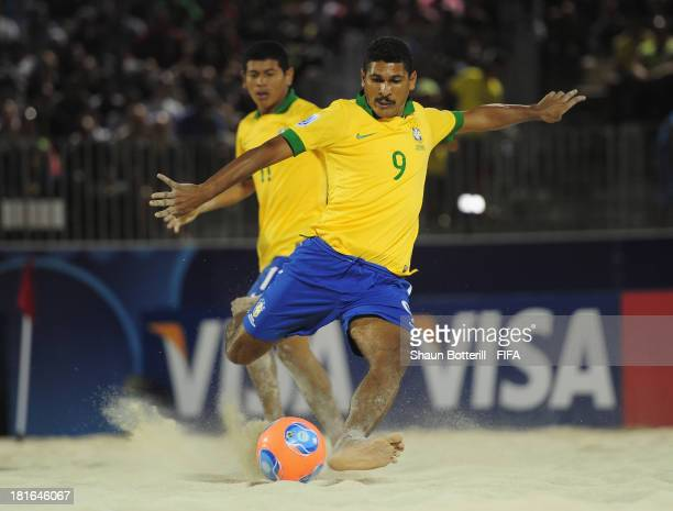 Andre of Brazil prepares to shoot during the FIFA Beach Soccer World Cup Tahiti 2013 Group C match between Brazil and Senegal at the Tahua To'ata...