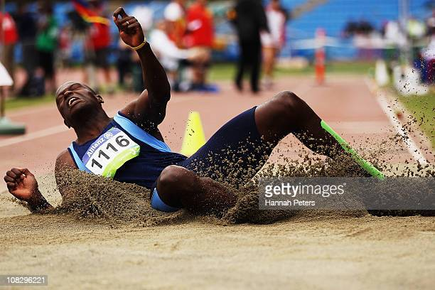 Andre Oliveira of Brazil competes in the Men's Long Jump Final F44 during day four of the IPC Athletics Championships at QE II Park on January 25...