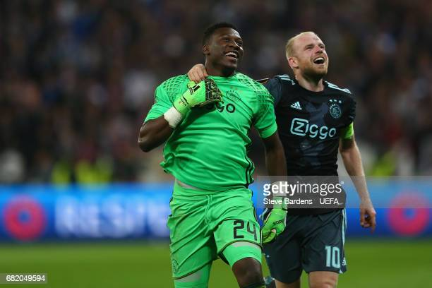 Andre Onana and Davy Klaassen of Ajax Amsterdam celebrate victory after the Uefa Europa League semi final second leg match between Olympique Lyonnais...