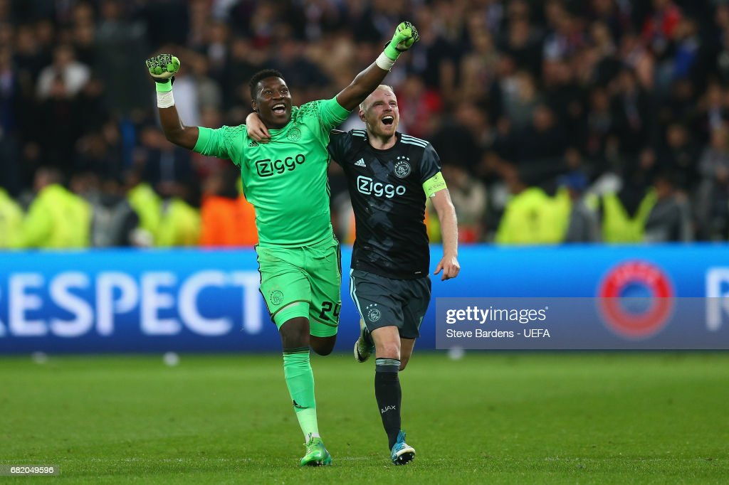 Andre Onana and Davy Klaassen of Ajax Amsterdam celebrate victory after the Uefa Europa League, semi final second leg match, between Olympique Lyonnais Lyon and Ajax Amsterdam at Parc Olympique on May 11, 2017 in Lyon, France.