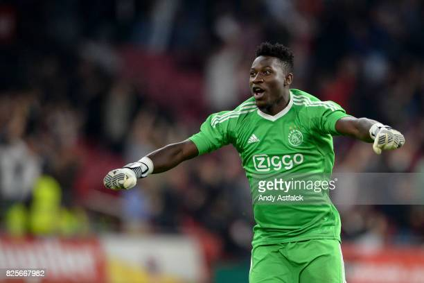 Andre Onana from AJAX reacts to a AJAX goal during the UEFA Champions League Qualifying Third Round Second Leg match between AJAX Amsterdam and OSC...
