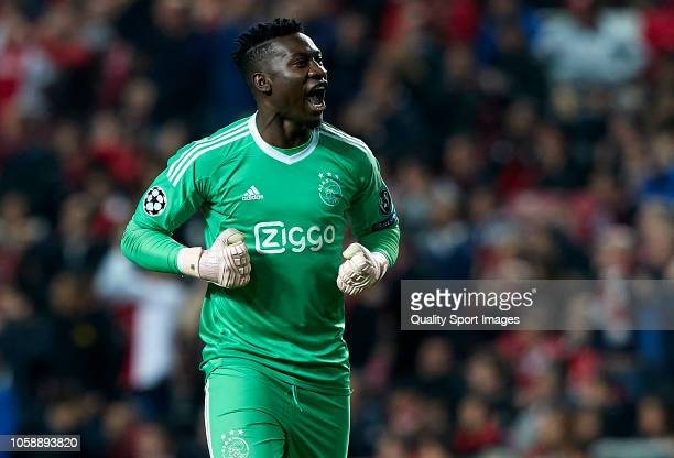 Andre Onana goalkeeper of Ajax celebrates after the first goal of his team scored by Dusan Tadic during the Group E match of the UEFA Champions...