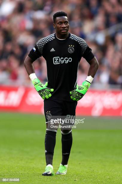 Andre Onana of AFC Ajax looks on during the Eredivisie match between AFC Ajax and Feyenoord at Amsterdam Arena on April 2 2017 in Amsterdam...