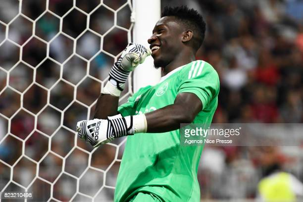 Andre Onana of Ajax Amsterdam celebrate during the UEFA Champions League Qualifying match between Nice and Ajax Amsterdam at Allianz Riviera Stadium...