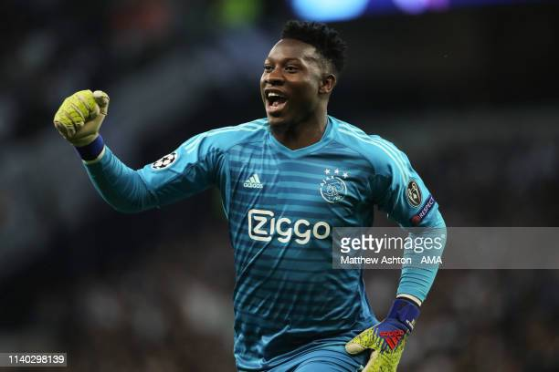 Andre Onana of Ajax Amsterdam celebrates after Donny van de Beek of Ajax Amsterdam scored a goal to make it 10 during the UEFA Champions League Semi...