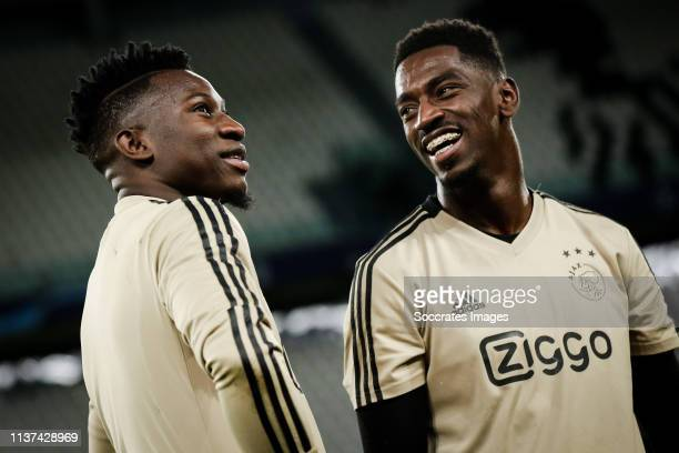 Andre Onana of Ajax Bruno Varela of Ajax during the Training session and Press conference Ajax in Turin at the Allianz Stadium on April 15 2019 in...