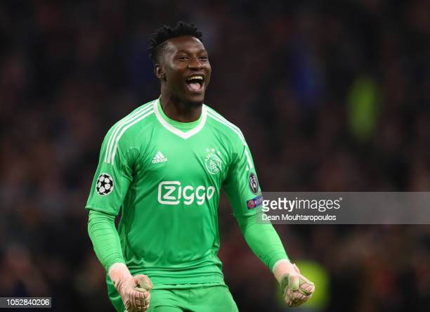 Andre Onana of Ajax celebrates after Noussair Mazraoui of Ajax scores his team's first goal during the Group E match of the UEFA Champions League...