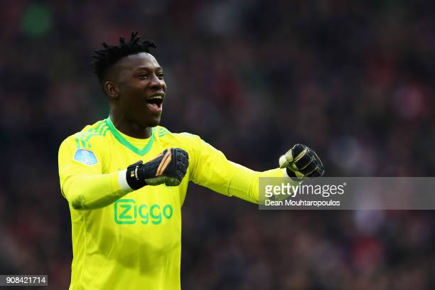 Andre Onana of Ajax celebrates as Donny van de Beek of Ajax scores their first goal during the Dutch Eredivisie match between Ajax Amsterdam and...