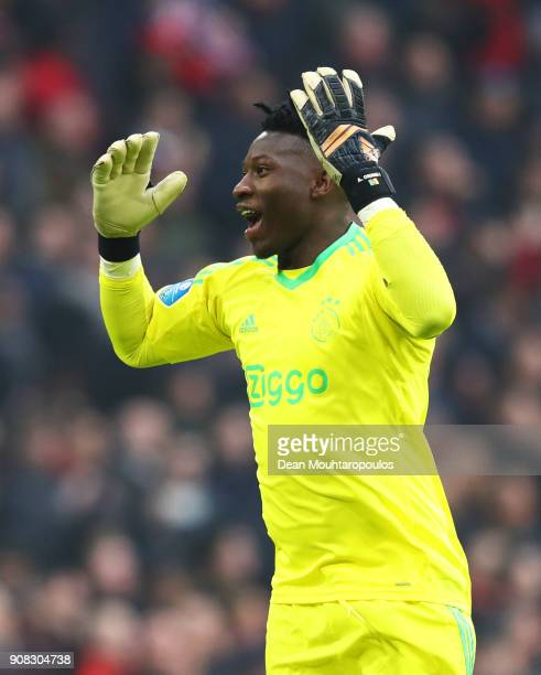 Andre Onana of Ajax celebrates as KlaasJan Huntelaar of Ajax scores their second goal during the Dutch Eredivisie match between Ajax Amsterdam and...