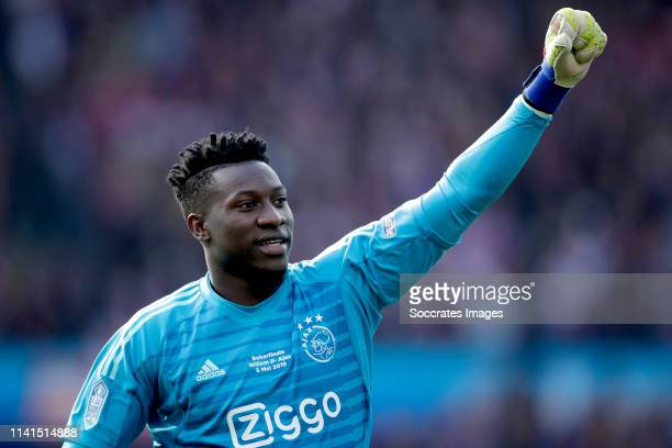 Andre Onana of Ajax celebrates during the Dutch KNVB Beker match between Willem II v Ajax Dutch Toto KNVB Cup Final at the Feyenoord Stadium on May 5...