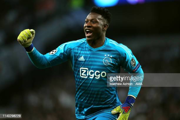 Andre Onana of Ajax celebrates his side's first goal during the UEFA Champions League Semi Final first leg match between Tottenham Hotspur and Ajax...
