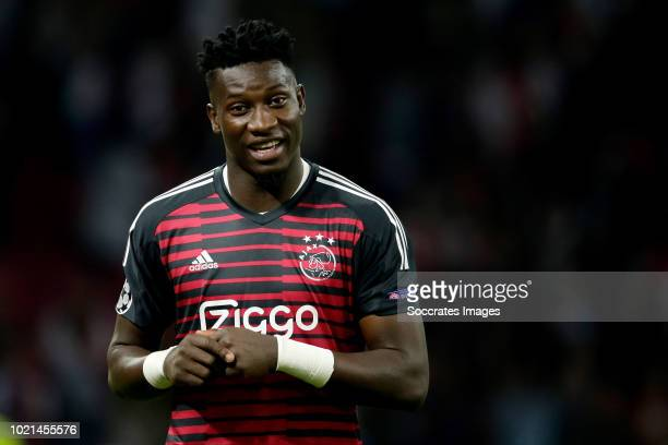 Andre Onana of Ajax celebrates the victory during the UEFA Champions League match between Ajax v Dinamo Kiev at the Johan Cruijff Arena on August 22...