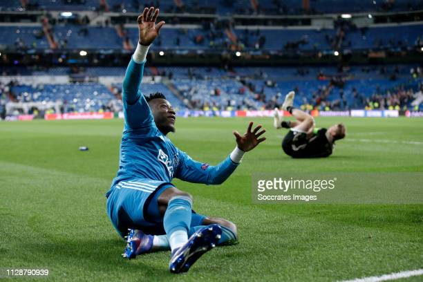 Andre Onana of Ajax celebrates the victory during the UEFA Champions League match between Real Madrid v Ajax at the Santiago Bernabeu on March 5 2019...