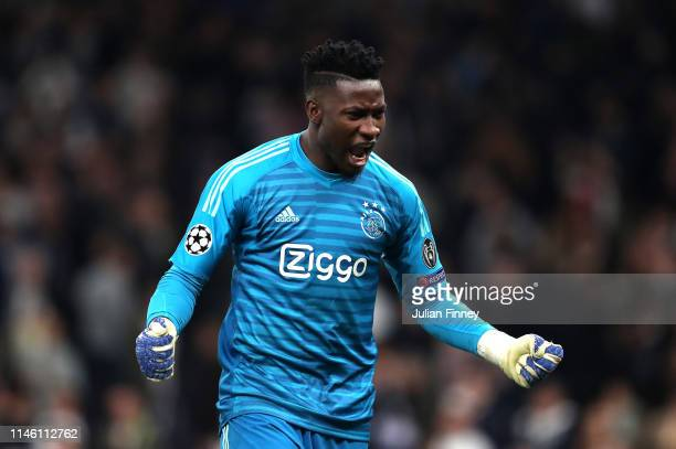 Andre Onana of Ajax celebrates victory after the UEFA Champions League Semi Final first leg match between Tottenham Hotspur and Ajax at at the...