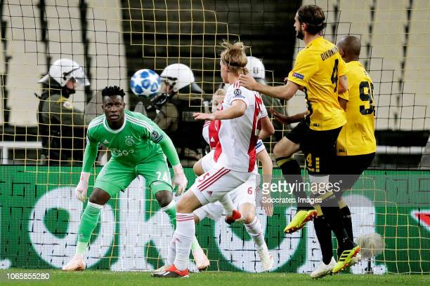 Andre Onana of Ajax Donny van de Beek of Ajax Kasper Dolberg of Ajax Marios Oikonomou of AEK Alef of AEK during the UEFA Champions League match...