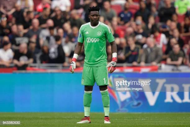 Andre Onana of Ajax during the Dutch Eredivisie match between Ajax v Heracles Almelo at the Johan Cruijff Arena on April 8 2018 in Amsterdam...