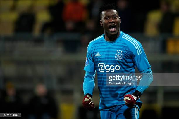 Andre Onana of Ajax during the Dutch KNVB Beker match between Roda JC v Ajax at the Parkstad Limburg Stadium on December 19 2018 in Kerkrade...