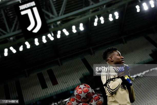 Andre Onana of Ajax during the Training session and Press conference Ajax in Turin at the Allianz Stadium on April 15 2019 in Turin Italy