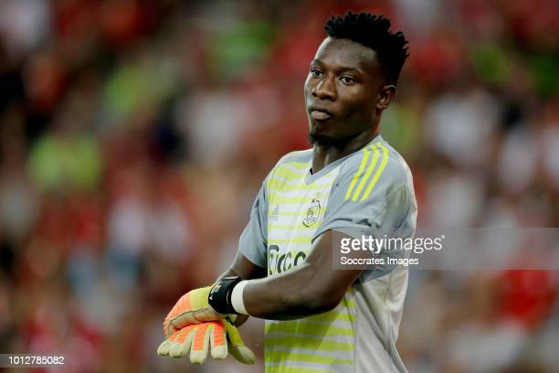 Andre Onana of Ajax during the UEFA Champions League match between Standard Luik v Ajax at the Stade de Sclessin on August 7 2018 in Liege Belgium
